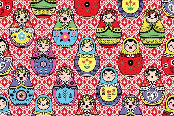 Décoration murale Poupées Russes rouge