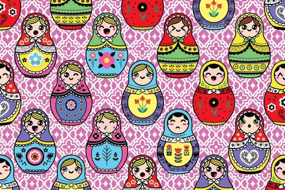 Papier peint coloré Poupées Russes rose