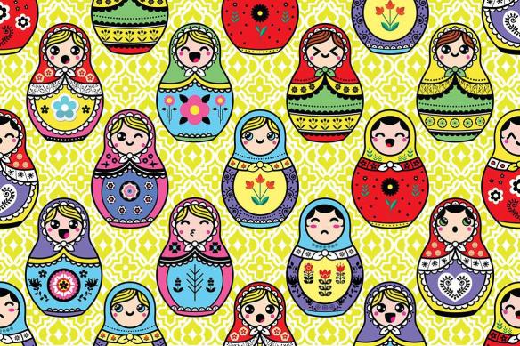 Papier peint graphique Poupées Russes jaune