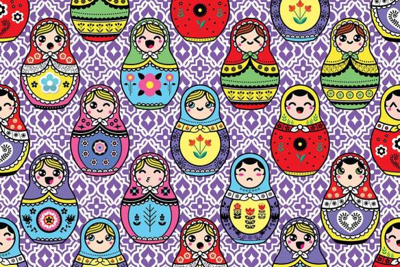 Poster mural Poupées Russes violet