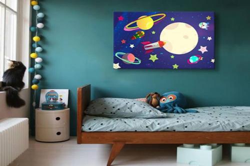 Toile déco chambre enfant Spicy Space