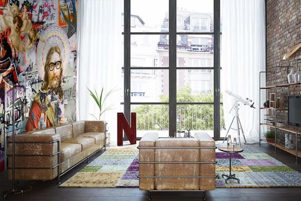 papier peint panoramique jesus tags graphiques izoa. Black Bedroom Furniture Sets. Home Design Ideas