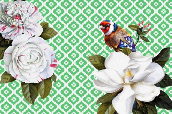décoration murale vert oiseau