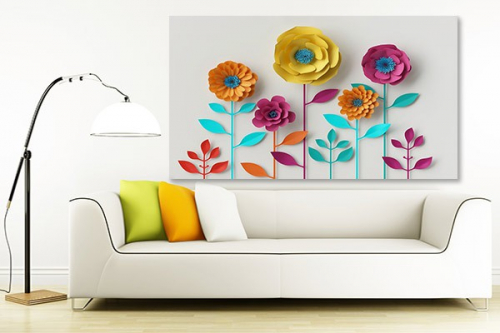 Tableau contemporain coloré Fleurs en papier