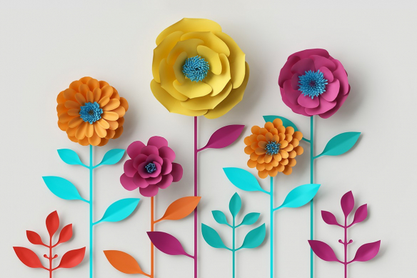 Tableau scandinave coloré Fleurs en papier