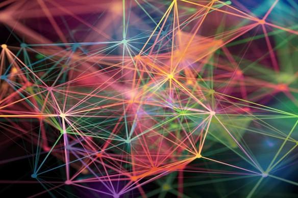 Toile déco abstraite Connexion colorée