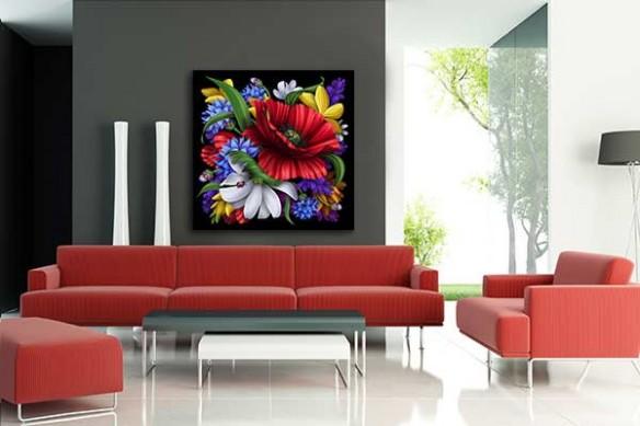 Tableau carré Bouquet Floral