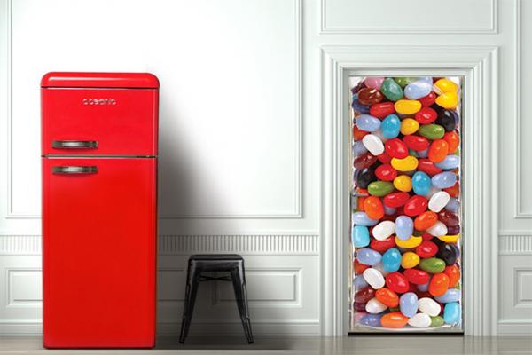 Sticker pour porte bonbons multi couleurs izoa - Stickers trompe l oeil pour porte ...