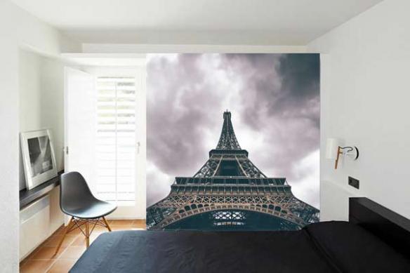 Papier peint moderne Tour Eiffel vue d'en bas
