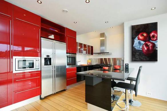 décoration cuisine rouge tableau Pommes rouges