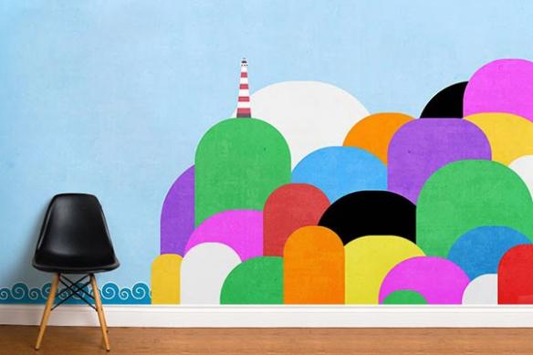 Papier peint chambre enfant Phare coloré