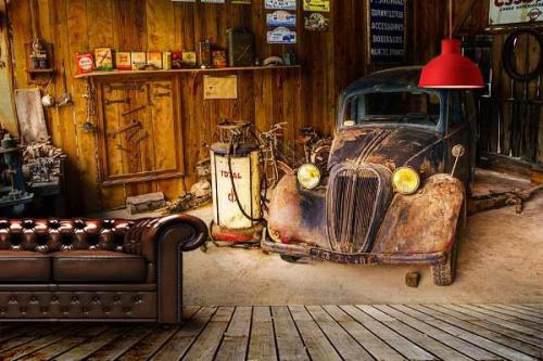 Papier peint vintage Garage Rétro