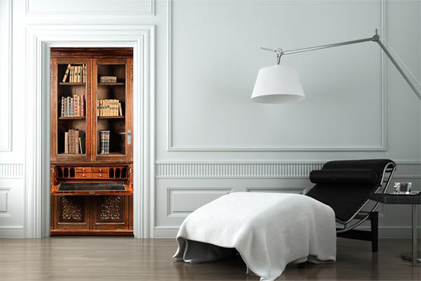 sticker porte trompe l il bureau biblioth que izoa. Black Bedroom Furniture Sets. Home Design Ideas