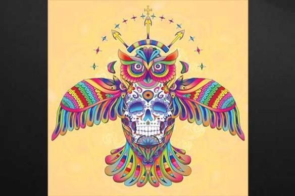 Hibou aztèque jaune
