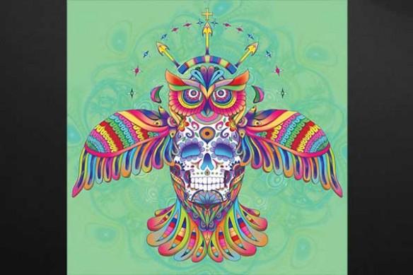 Hibou aztèque vert