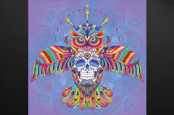 Hibou aztèque violet