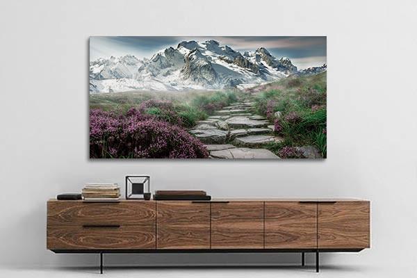 grand tableau salon moderne chemin nirvana. Black Bedroom Furniture Sets. Home Design Ideas