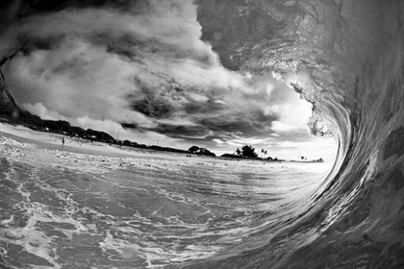 tapisserie noir et blanc vague surf
