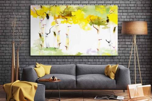 Tableau salon moderne Bouleau blanc en automne