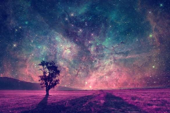 Toile nuit étoile filantes d'été