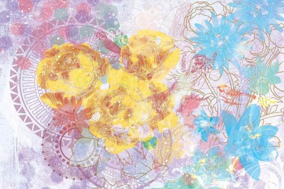 Tableau déco fleurs expérimentales jaune