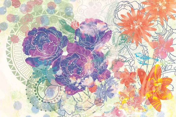 Tableau déco fleurs expérimentales violet
