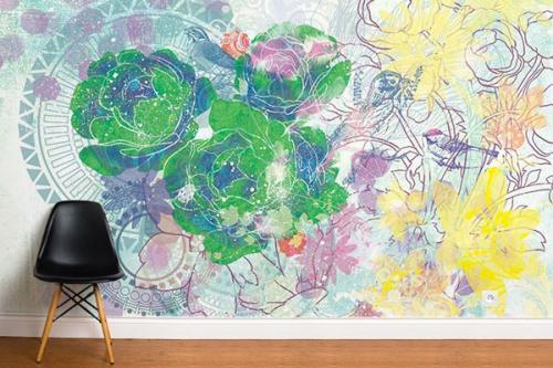 Papier peint fleurs expérimentales vert