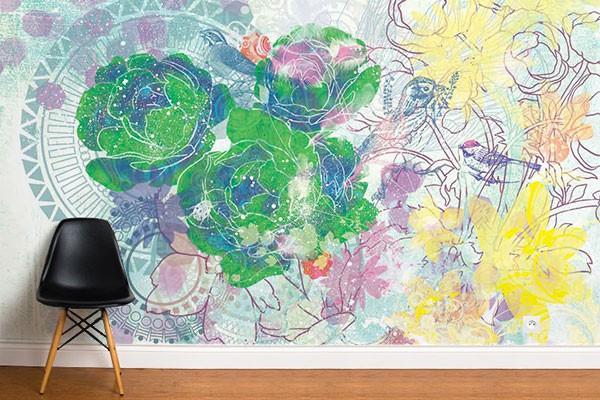 papier peint fleurs exp rimentales izoa. Black Bedroom Furniture Sets. Home Design Ideas