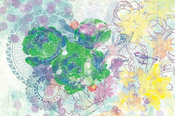 Papier peint mur fleurs expérimentales vert