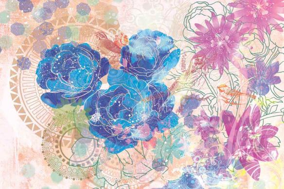 Papier peint textile fleurs expérimentales bleu