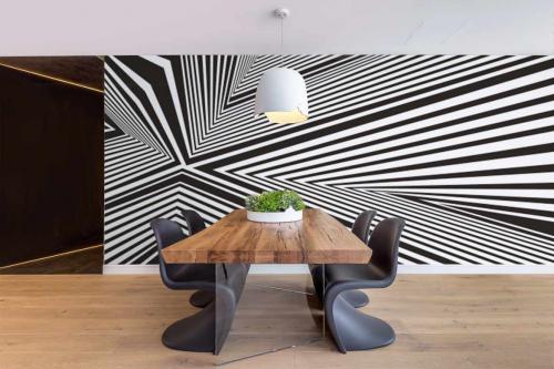 Papier peint Graphique noir et blanc Convergence