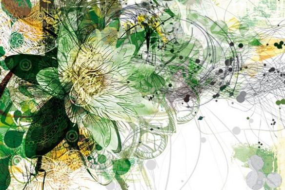 composition Fleur papier peint vert
