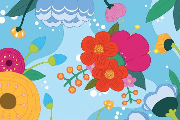 Papier peint scandinave Blomma bleu ciel