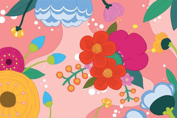 Papier peint déco Blomma rose