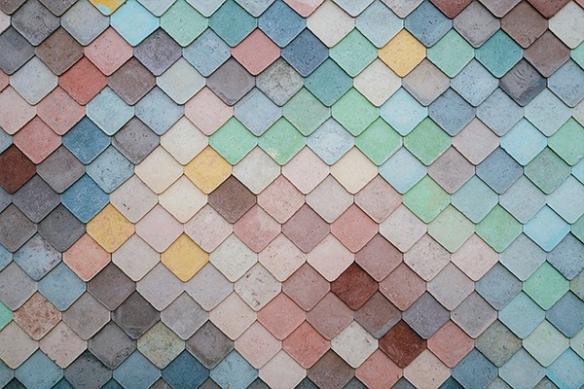 Trompe l'oeil Papier peint effet texture Façade ardoise colorée