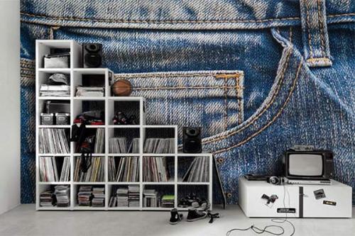 Papier peint effet jeans