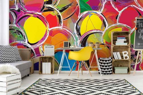 Papier peint chambre design Bulles Eclats