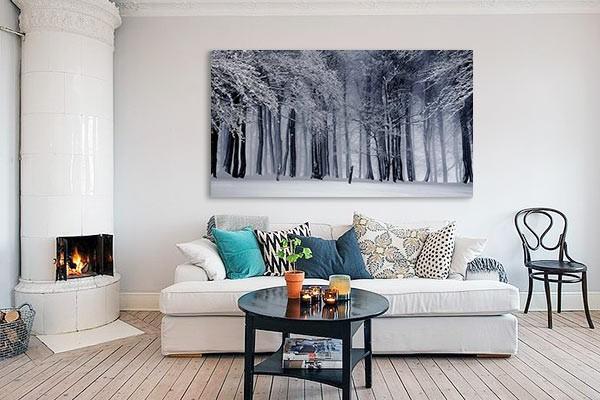 tableau grand format foret hiver. Black Bedroom Furniture Sets. Home Design Ideas
