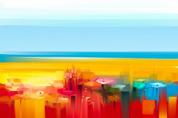 Tableau moderne coloré Fleurs Arc en ciel