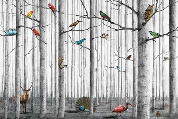 Papier peint déco Animaux Forêt