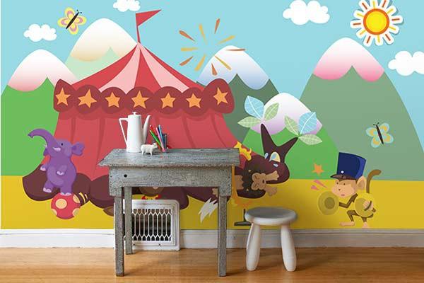 Tapisserie chambre enfant cirque izoa - Papier peint original chambre ...
