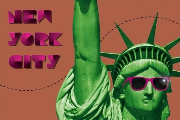 poster New york City marron