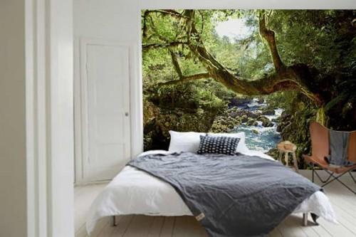 Papier peint trompe l'oeil Jungle Rivière