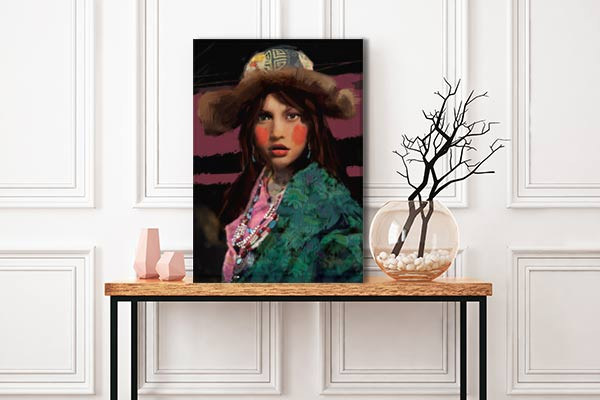 tableau femme ethnique izoa. Black Bedroom Furniture Sets. Home Design Ideas