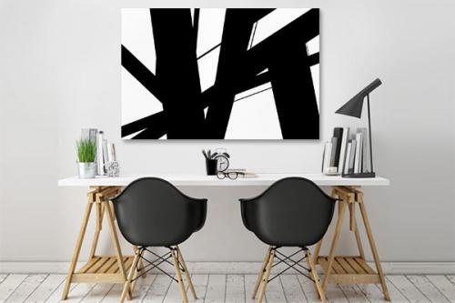 tableau abstrait noir et blanc instable