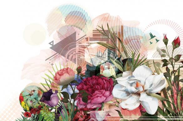 Tableau déco fleur Bouquet graphique izoa