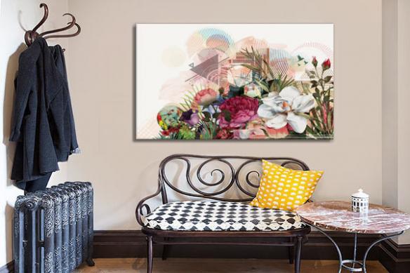 Tableau grand format fleur Bouquet graphique izoa