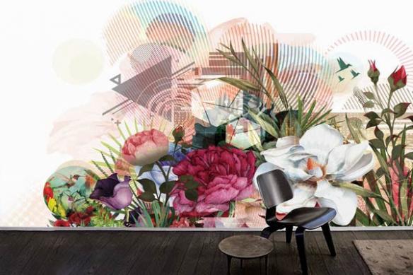 Papier peint design Bouquet graphique
