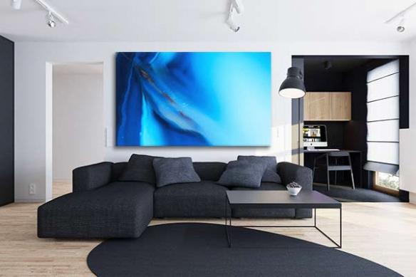 Cadre décoration salon bleu Azure
