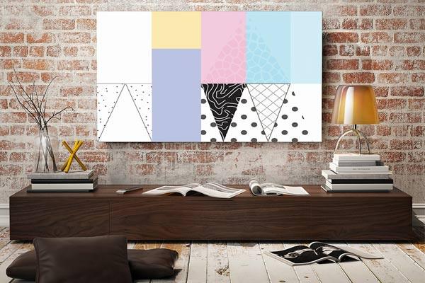 toile d co graphique scandinave couleurs pastels. Black Bedroom Furniture Sets. Home Design Ideas